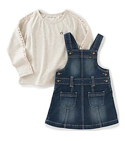 Calvin Klein Jeans® Girls' 4-6X 2-Piece Long Sleeve Tee and Jumper Set