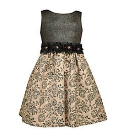 Bonnie Jean® Girls' 7-16 Rosette Accented Brocade Dress