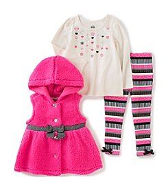 Kids Headquarters® Girls' 2T-4T 3-Piece Bow Hooded Vest Set