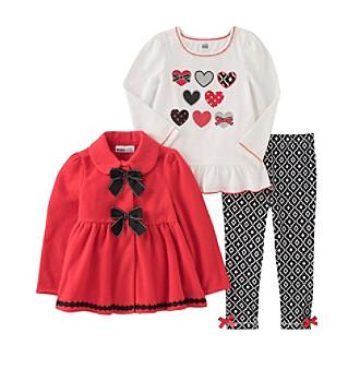 Kids Headquarters® Girls' 2T-6X 3-Piece Hearts Peplum Ja