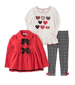 Kids Headquarters® Girls' 2T-6X 3-Piece Hearts Peplum Jacket Set