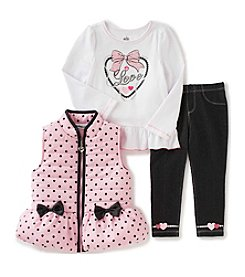 Kids Headquarters® Girls' 2T-6X 3-Piece Bow Vest Set