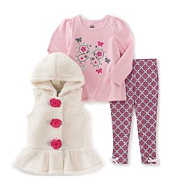 Kids Headquarters® Girls' 2T-6X 3-Piece Rosette Hooded Vest Set