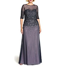 Adrianna Papell® Plus Size Beaded Illusion Gown