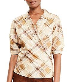 Lauren Ralph Lauren® Petites' Plaid Crepe Wrap Shirt