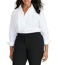 Lauren Ralph Lauren® Plus Size Cotton Poplin Bib Shirt