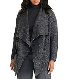 Lauren Ralph Lauren® Plus Size Wool Herringbone Cardigan
