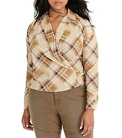Lauren Ralph Lauren® Plus Size Plaid Crepe Wrap Shirt