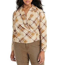 Lauren Ralph Lauren® Plus Size Plaid Crepe Wrap Shirt