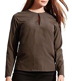 Lauren Ralph Lauren® Plus Size Crepe Keyhole Blouse