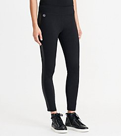 Lauren Active® Faux-Leather-Trim Jersey Legging
