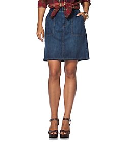 Chaps® Stretch-Denim Straight Skirt