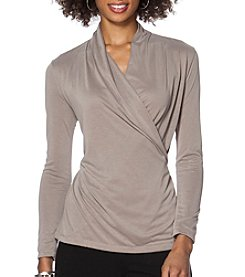 Chaps® Jersey Faux-Wrap Top
