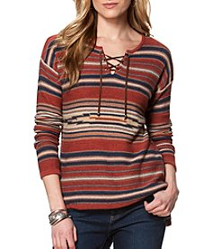 Chaps® Striped Lace-Up Sweater