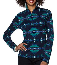 Chaps® Long Sleeve Geo-Print Cotton Pullover