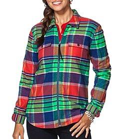 Chaps® Plaid Twill Full-Zip Workshirt