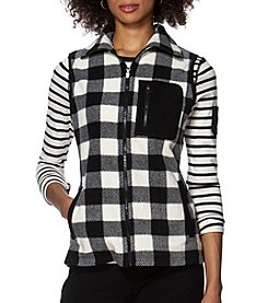 Chaps® Buffalo Check Fleece Vest