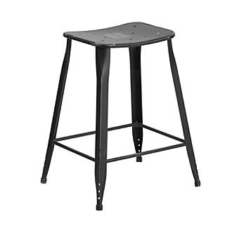 Flash Furniture Distressed Metal Indoor-Outdoor Counter Heig