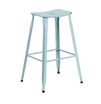 Flash Furniture Distressed Metal Indoor-Outdoor Barstool