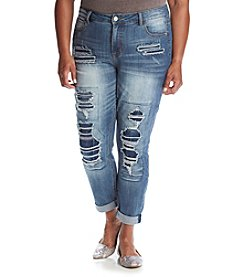 Hippie Laundry Plus Size Destructed Roll Cuff Jeans