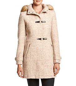Ivanka Trump® Faux Fur Hood Toggle Boucle Coat