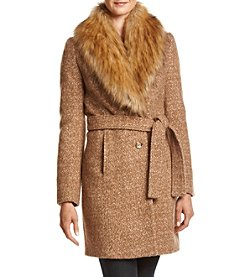 Ivanka Trump® Faux Fur Collar Belted Wrap Coat