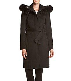Ivanka Trump® Faux Fur Hood Belted Wrap Coat