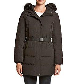 Calvin Klein Faux Fur Hood Belted Coat