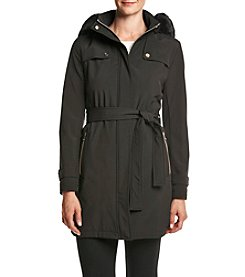 Ivanka Trump® Belted Softshell Coat With Faux Fur Hood