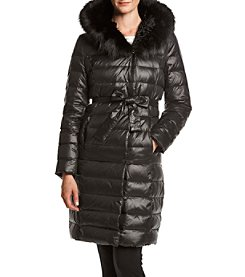 Ivanka Trump® Belted Down Coat With Faux Fur Hood
