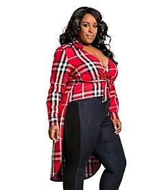 Poetic Justice® Plus Size Tish Curvy Mad About Plaid Wrap Front Coat Jacket