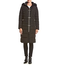 Ivanka Trump® Horizontal Seam Maxi Coat With Faux Fur Hood