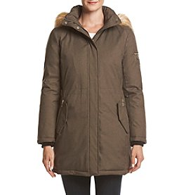 Ivanka Trump® Flap Pocket Anorak Coat With Faux Fur Hood