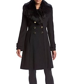 Ivanka Trump® Fit And Flare Coat With Fur Collar