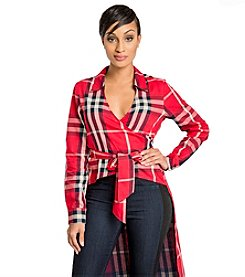 Poetic Justice® Tish Curvy Mad About Plaid Wrap Front Jacket