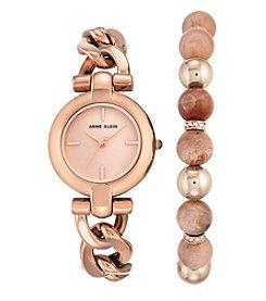 Anne Klein® Rose Goldtone Watch and Bead Bracelet Set
