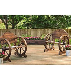 Sunjoy Rustic Wood Wagon Wheel Chair