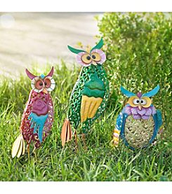 Sunjoy Set of 3 Whimsical Owls Garden Statues