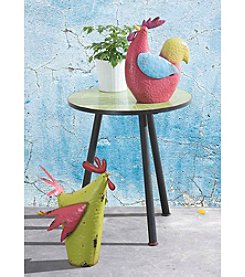 Sunjoy Set of 2 Whimsical Rooster and Hen Garden Sculpture