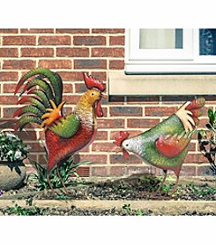 Sunjoy Set of 2 Vintage Rooster and Hen Sculpture Set
