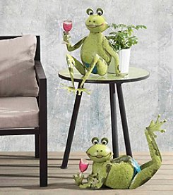 Sunjoy Set of 2 Comical Wine Drinking Frogs Garden Sculpture