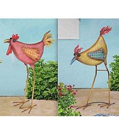 Sunjoy Rooster and Hen Metal Garden Statues