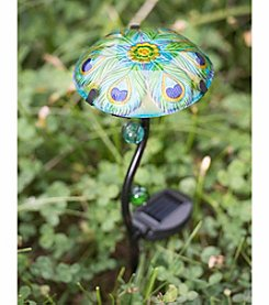 Sunjoy Set of 3 Peacock Mushroom Solar LED Garden Stake