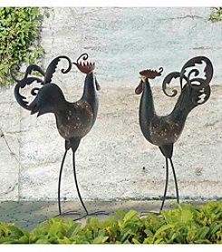 Sunjoy Set of 2 Tall Rooster and Hen Iron Garden Statues