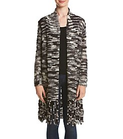 Kensie® Space Dyed Fringe Cardigan