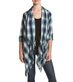 Hippie Laundry Plaid Fringe Cardigan