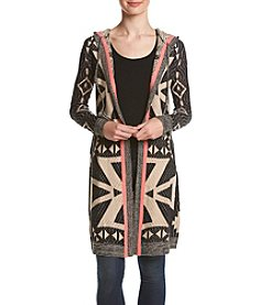 Sequin Hearts® Geometric Hooded Cardigan