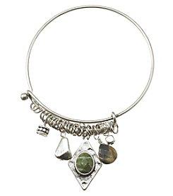 Ruff Hewn Silvertone Charm Wire Bracelet