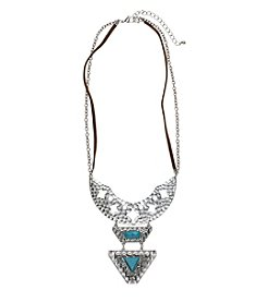 Ruff Hewn Silvertone Crescent Frontal Necklace With Turquoise Stone