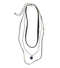 Relativity® Silvertone Three Row Layered Necklace